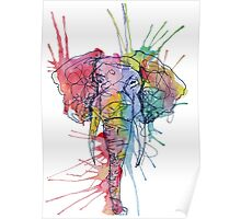 Colorful Watercolor and Ink Elephant Poster