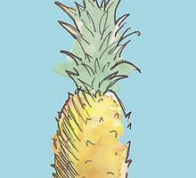 Cute Watercolor and Ink Pineapple by SoderblomArt