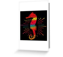 Colorful Happy SeaHorse - Caballito de Mar Colorido Greeting Card