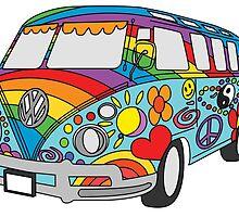 Painted VW Hippie Van  by moonmaroon89