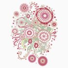 Swirls, Curls and Flowers Abstract Art T-Shirt Pink by Jamie Wogan Edwards