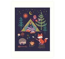 Woodland Animals Campout Art Print
