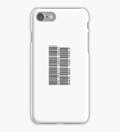 Accidently Cares About Bands More Than People Barcode Phone Case or Sticker - Horizontal iPhone Case/Skin