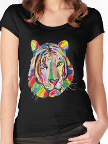 Rainbow Tiger Face Women's Fitted Scoop T-Shirt