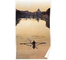 """The Oarsman"" Tiber River Watercolor Poster"
