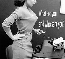 Retro Humor Woman Versus Typewriter  by Charlottesw3b