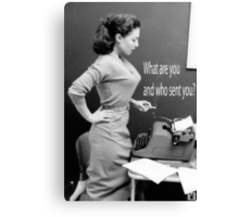 Retro Humor Woman Versus Typewriter  Canvas Print