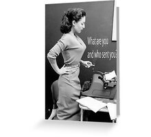 Retro Humor Woman Versus Typewriter  Greeting Card