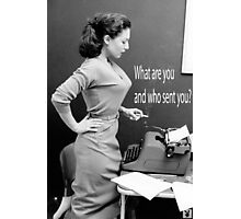 Retro Humor Woman Versus Typewriter  Photographic Print