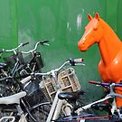 Copenhagen. Bikes and Horse by Igor Shrayer