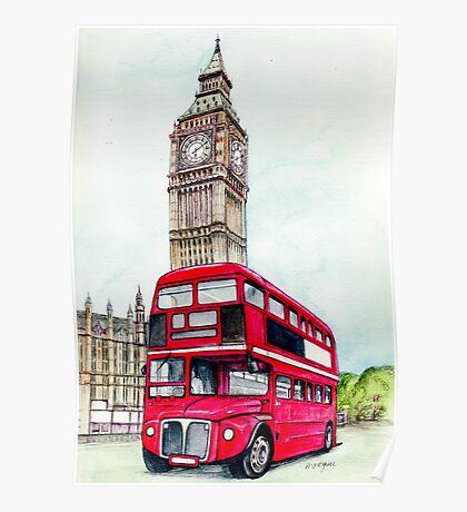 Big Ben and London Bus Poster