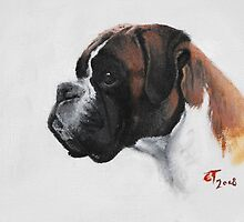 Boxer oil painting by Ed Teasdale