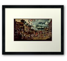 Unknown - Folding Screen with Indian Wedding and Flying Pole (Biombo con desposorio indigena y palo volador) Framed Print
