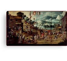 Unknown - Folding Screen with Indian Wedding and Flying Pole (Biombo con desposorio indigena y palo volador) Canvas Print