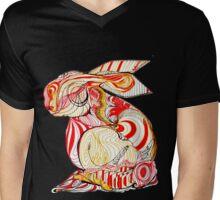 conejo rojo con amarillo Mens V-Neck T-Shirt