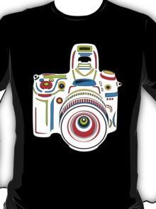 Rainbow Camera Black Background T-Shirt