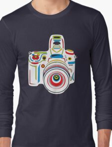 Rainbow Camera Black Background Long Sleeve T-Shirt