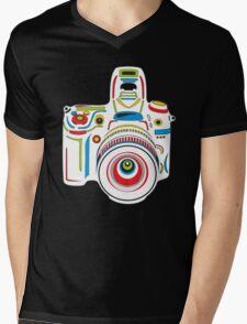 Rainbow Camera Black Background Mens V-Neck T-Shirt