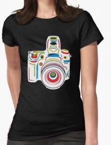 Rainbow Camera Black Background Womens Fitted T-Shirt