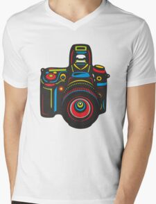 Black Camera Mens V-Neck T-Shirt