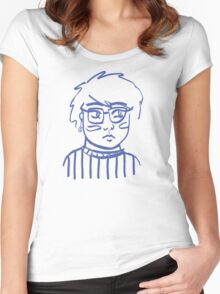 Moon Bright Glasses Girl Women's Fitted Scoop T-Shirt
