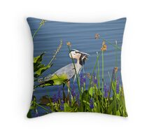 Crane with fish Throw Pillow