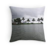 Windswept trees along the edge of a lake in Kolkata, India Throw Pillow