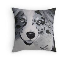 Aussie White on Black ~ Australian Shepherd ~ Oil Painting Throw Pillow