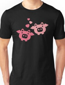 Flying Pigs in Love Unisex T-Shirt
