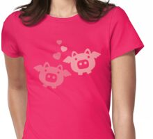Flying Pigs in Love Womens Fitted T-Shirt