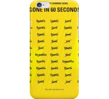 No032 My Gone In 60 Seconds minimal movie poster iPhone Case/Skin