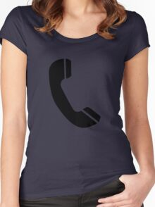 Retro Black Telephone Women's Fitted Scoop T-Shirt