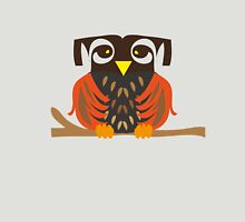 Owl sitting on a tree branche. Unisex T-Shirt