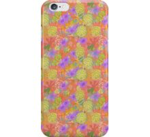 Garden Charm III:  Happy Flowers in Coral, Pink and Yellow with Purple and Grey iPhone Case/Skin