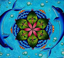 Dolphin and Lily pad mandala by Lunhatikk
