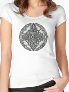 Charcoal Lace Pencil Doodle Women's Fitted Scoop T-Shirt