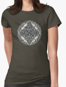 Charcoal Lace Pencil Doodle Womens Fitted T-Shirt