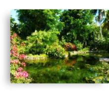 Tropical Garden by Lake Canvas Print