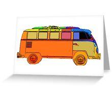 VDub Surfer Bus Single Greeting Card
