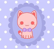 Kawaii kitty with bow by peppermintpopuk