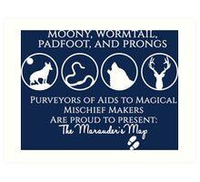 Moony, Wormtail, Padfoot, Prongs  Art Print