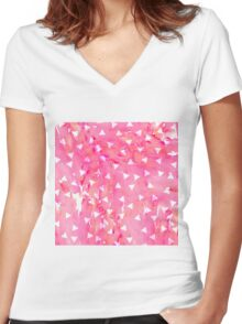 White Triangle Pattern on Pink Watercolor Paint Women's Fitted V-Neck T-Shirt