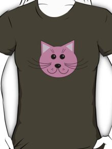 Cute Pink Cartoon Cat Head T-Shirt