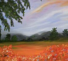 Poppy Field Meadow, original art, wall decor, home decor by artbykatsy