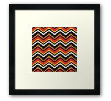 Orange, Black and White Ethnic Zigzag Pattern Framed Print