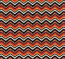 Orange, Black and White Ethnic Zigzag Pattern by amovitania