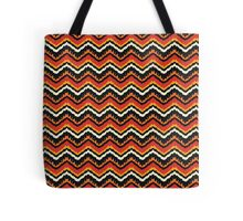 Orange, Black and White Ethnic Zigzag Pattern Tote Bag