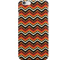 Orange, Black and White Ethnic Zigzag Pattern iPhone Case/Skin