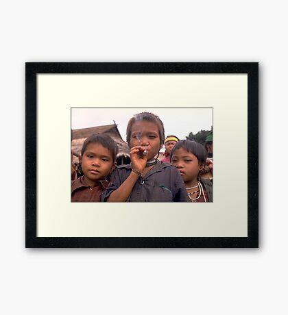 Karen hilltribe children smoking tobacco Framed Print