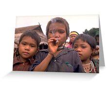 Karen hilltribe children smoking tobacco Greeting Card